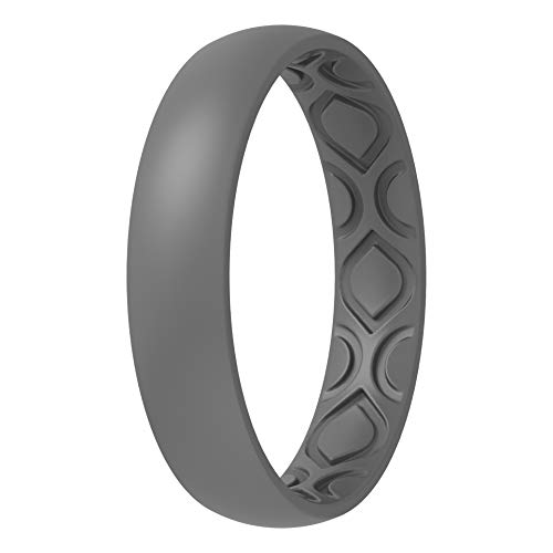 ThunderFit Women Breathable Air Grooves Silicone Wedding Ring Wedding Bands 4mm - 1 Ring (Grey, 6.5 - 7 (17.3mm))