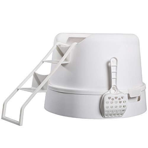 Maisons de toilette pour chats Litière Boîte, Chat entièrement Clos Toilette Top entrée avec échelle Trash Can Easy Nettoyage