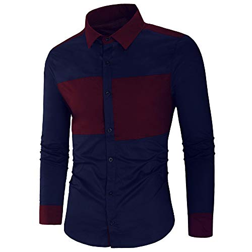 KXZD Men's Long Sleeved Shirt Patchwork Stitching Fashion Denim Button Shirt Mens Dress Shirts Printed Linen Shirt Casual Shirt Tops Casual Business Button Up Shirt Patchwork Work Shirt