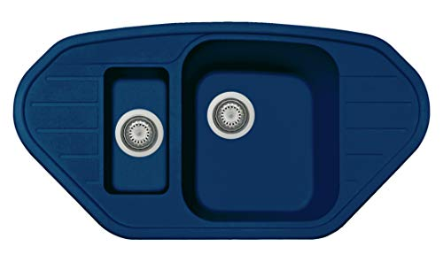 Fregadero Plados SP0981 de una cubeta grande + una bañera pequeña + escurreplatos (Azul Laguna)