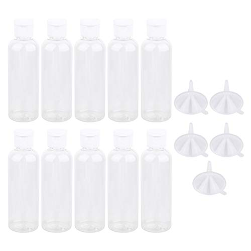 Minkissy 10 Piezas de Botellas Vacías de Plástico con Tapa Abatible Y 5 Piezas de Contenedores de Viaje de Embudo de Plástico Dispensador para Crema de Jabón Líquido 100 Ml