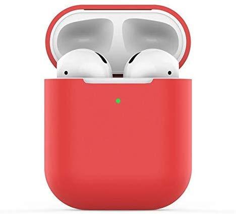 Airpods Coque Housse Étui Protecteur Compatible pour AirPods 2, KOKOKA AirPods Case Silicone Cover Témoin LED Visible Supporte la Charge sans Fil, Rouge