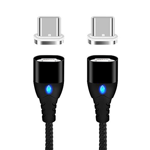 LAMA 3A Magnetisches Type C Kabel [2 Stück 1M] Nylon Magnetic USB C Datenkabel und Ladekabel Schnellladekabel Magnetisch für Samsung S9+ S9 S8+ S8 Huawei P20 Pro Mate 10 Pro P20 P10 Moto Sony HTC Mi 6