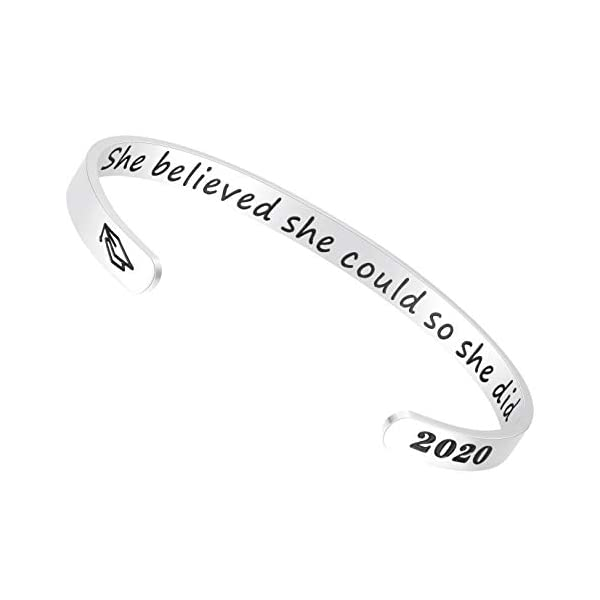 Fesciory Inspirational Bracelets for Women,Stainless Steel Engraved Personalized Positive Mantra Quote Keep Going Cuff Bangle College Graduation for Her