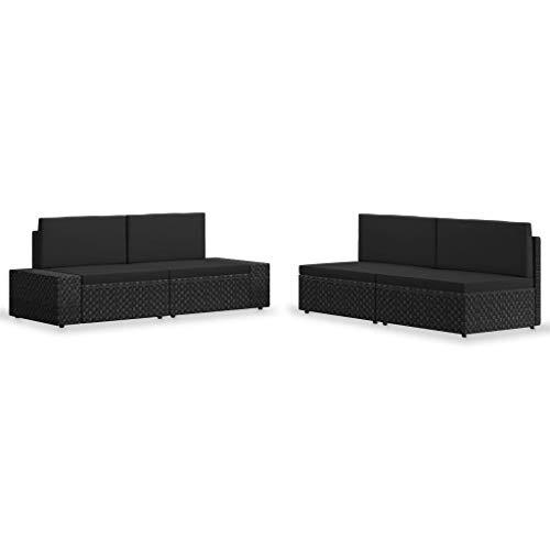 vidaXL Gartenmöbel 4-TLG. Lounge Sofa Sitzgruppe Gartenset Gartensofa Sitzgarnitur Gartengarnitur Mittelsofa Ecksofa Poly Rattan Schwarz