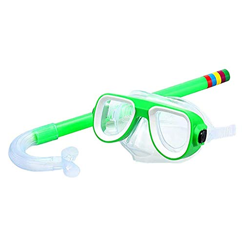 Seguridad 2 Piezas Easybreath Gafas de Bucear Niños Máscara de Buceo Máscara Snorkel Tubo Respirador Anti-Niebla Gafas de Natación Set de Buceo 3-10 Años de Edad Eficaz (Color : Green)