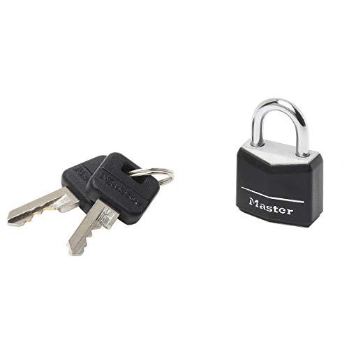 Master Lock 9120EURDBLK Lucchetto a Chiave in Alluminio Rivestito, Nero, 2 x 3.4 x 1.4 cm