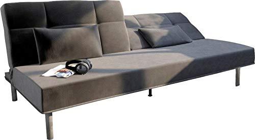 B-famous SEAT DREAMS Sofa Sofabett, Samt Velours-Stoff, anthrazit, 202x89x82 cm
