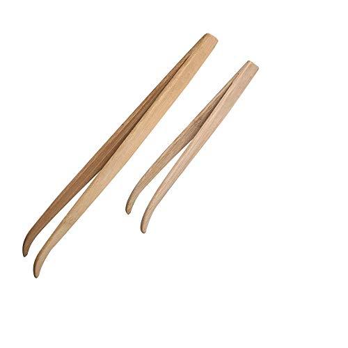 ASOCEA 給餌 ピンセット 竹製ピンセット 爬虫類 両生類 昆虫 給餌ピン 怪我防止 給餌 餌やり 掃除用 一長一短2本セット 16.5cm/28cm ペット用品