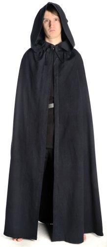 HEMAD Mittelalter Umhang mit Kapuze Wollfilz schwarz, braun, beige, rot, blau (One Size, schwarz)