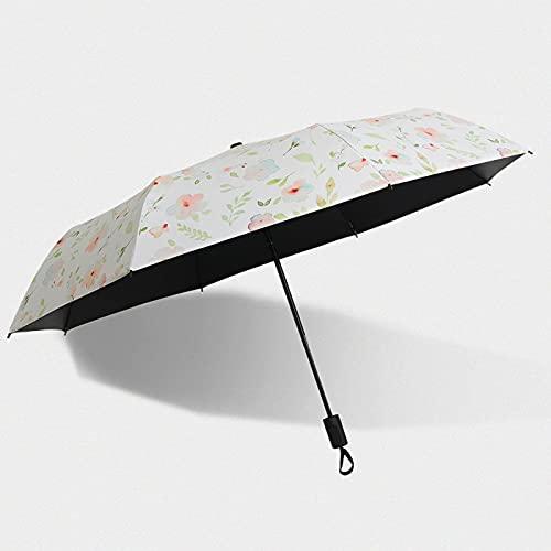 Seupeak Paraguas de Sol portátil, Paraguas, sombrilla, patrón Fresco pétalo, UPF 50, protección Solar y protección de la Lluvia, Adecuado para Viajes