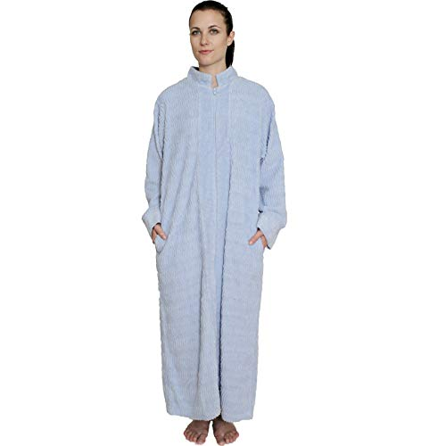 NDK New York Women's Zipper Front Chenille Bathrobe 100% Cotton Length 52 inches Blue