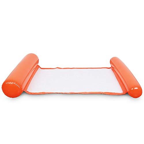 Jixista Wasserhängematte Schwimmendes Bett Aufblasbares Schwimmbett Ultrabequeme Wasser Hängematte Wasser Luftmatratze Schwimmliege Wasserliege Swimmingpool luftbett für Erwachsene (orange)
