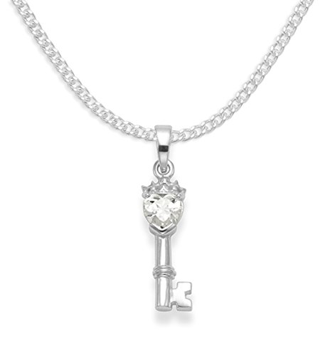Heather Needham Sterling Silver Key Necklace with Cubic Zirconia Heart on 16' silver chain - Size: 5mm x18mm LAST FEW LOWER PRICE Gift boxed cubic zirconia heart pendant 8204CZ