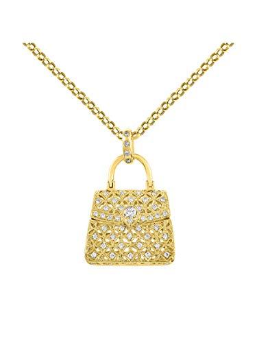 Collar con colgante de monedero de diamante de oro amarillo de 14 K estilo LV