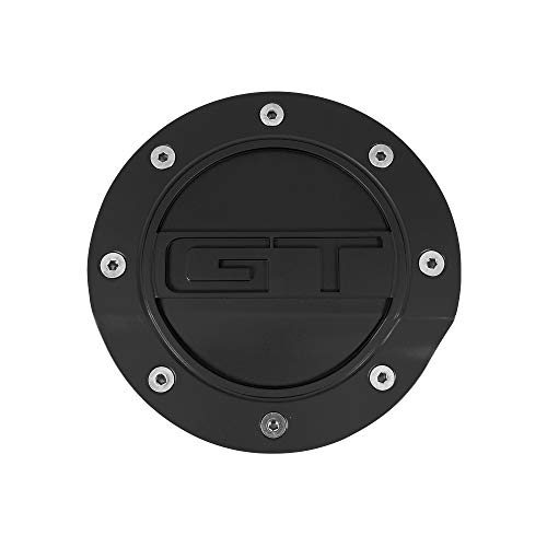 """Drake Muscle Cars Comp Series Fuel Door with""""GT"""" Lettering in Satin Black Finish, Compatible with Ford Mustang GT 2015-2021, Model FR3Z-6640526-GA"""