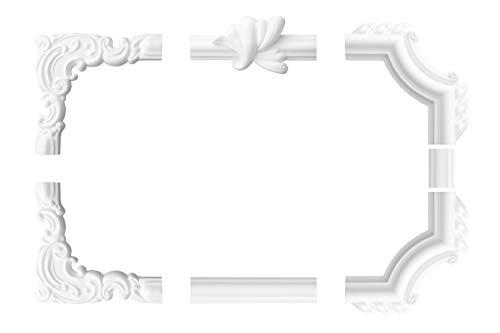 Wand- und Deckenumrandung | 4 Zwischensegmente | Barock | Deko Rahmen | Styropor | XPS | innen | Bordüre | 160 x 100 mm | LE-18-01