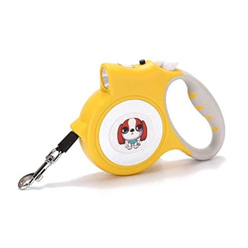 Correa retráctil para Perros Correa retráctil Ajustable con lámpara LED para Cachorros Mascotas pequeñas Plástico 5m (30KG) (Color : Yellow, Size : 5M/16ft)