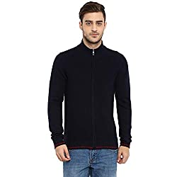 KVL Mens Long Sleeve Round Neck Solid Cardigan