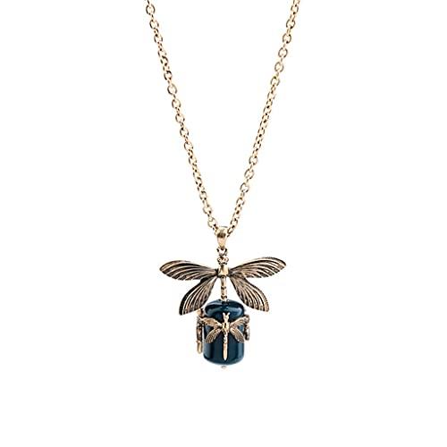 Gergxi Collar con colgante de libélula de aleación de color dorado vintage para mujer, cadena larga de suéter azul oscuro collar de resina accesorios