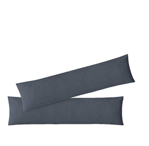 EXKLUSIV HEIMTEXTIL Kissenhülle Kissenbezug Doppelpack mit Reißverschluss hochwertige Jersey Qualität Anthrazit 40 x 145 cm