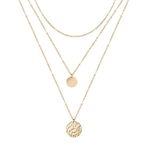 Forevereally Dainty Layered Necklace Hammered Disc Pendant Necklace Coin Necklace Choker Necklace 14K Real Gold Plated Necklace Simple Necklace for Women