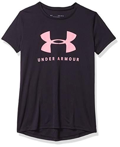 Under Armour Tech Solid Graphic Big Logo Camisa Manga Corta, Niñas, Negro, YLG