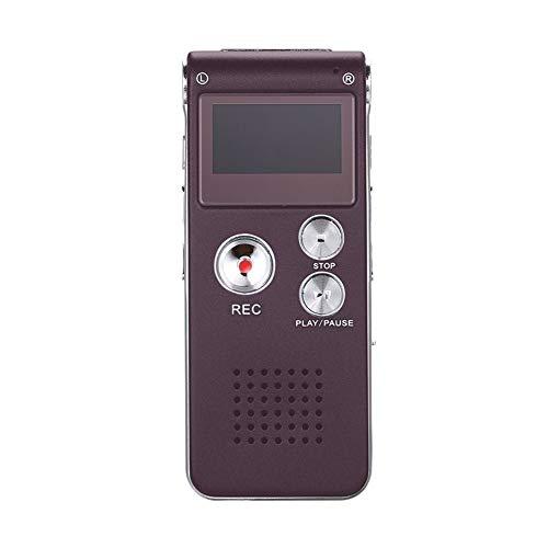 N28 - Grabadora de voz digital de 8 GB/16 GB, pantalla LCD portátil, recargable, grabadora de audio, reproductor de MP3 (color: rojo vino)