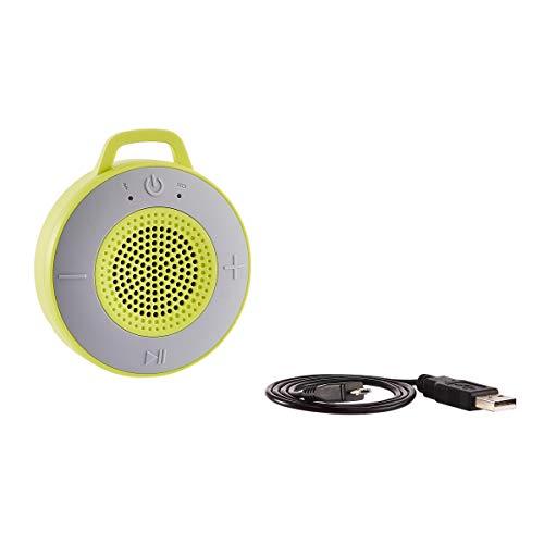 AmazonBasics Kabelloser Dusch-Lautsprecher mit 5-W-Treiber, Saugnapf, eingebautem Mikrofon, Hellgrün