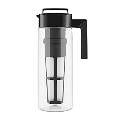 Takeya Iced Tea Maker with Patented Flash Chill Technology, Made in USA, 2 Quart, Black