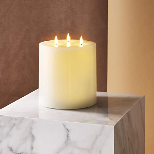 3 Wick Flameless Candle - 6x6 Large Pillar Candle, Realistic 3D Flickering Flames with Wicks, Battery Operated, Ivory Real Wax, Spring Home Decor, Remote Control with Timer Included