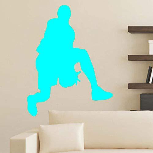 Pegatinas de pared de baloncesto papel tapiz de vinilo extraíble mural habitación infantil decoración de sala de deportes ~ 1 58 * 74 cm