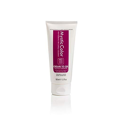 Mystic Haircare - Crème Sans Rinçage Cream to Oil pour Cheveux Colorés et Décolorés, Crème Professionnelle de Restructuration Capillaire à l'Huile d'Argan - Format 100 ml