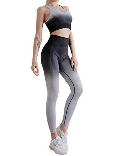 Cintura Alta Pantalon Running Training,Pantalones de Chaleco de Yoga para Mujer de Dos Piezas, Conjuntos Deportivos sin Costuras con gradiente de Gimnasio-Black_M