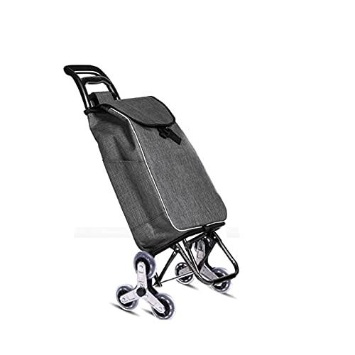 Sdesign Carrito de compras en 3 ruedas Carrito de compras plegable Carrito de compras liviano de la empresa de la empresa de la empresa de comestibles con la escalera del escalador con bolsa de gran c