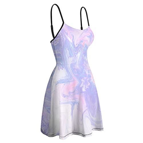 Vestido de cami de tinta con textura de mármol para mujer, sin espalda, estilo moderno, mini vestidos para fiesta de club