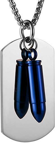 NC66 Collar con Colgante de aleación de Etiqueta de Perro Estilo Militar de Bala Impermeable de Acero Inoxidable Punk para Hombre con Cadena de 22 + 2 Pulgadas, Astilla y Azul