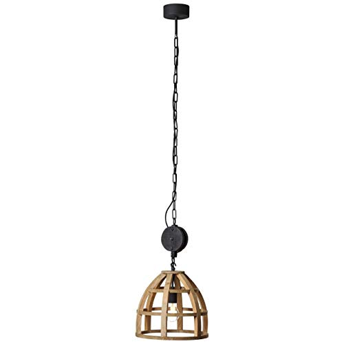 BRILLIANT lamp Matrix Nature hanglamp 34cm antiek hout/zwart korund |1x A60, E27, 60W, geschikt voor standaardlampen (niet inbegrepen) |Schaal A ++ tot E |Ketting kan worden ingekort