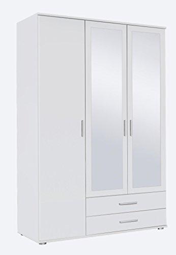 Rauch Möbel Rasant, Schrank Drehtürenschrank mit Spiegel inklusive 2 Schubladen, 3-türig, Zubehörpaket Basic 3 Einlegeböden, 1 Kleiderstange, Weiß, 52 x 127 x 188 cm