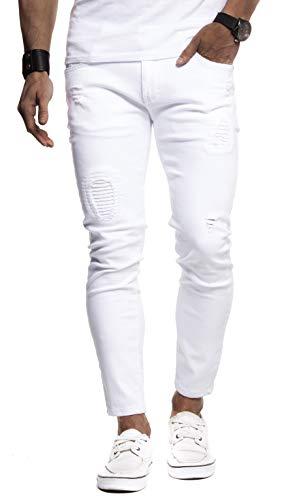 Leif Nelson Herren Jeans-Hose Slim Fit Moderne Denim Freizeithose für Männer Moderne Stretch weiße Jeanshose schwarz LN9100BL; W30L30, Weiss