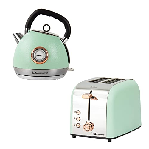 SQ Professional Breakfast Set 2pc Kettle with Rose Gold Accents & Temperature Display 2200W - 2 Slice Toaster with Rose Gold Accents, High-Lift, Wide Slots & 6 Browning Levels 900W (Green) …