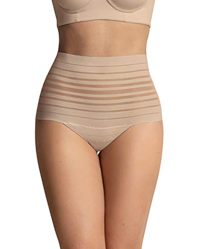 Leonisa lace stripe high waist compression tummy control thong for women Beige