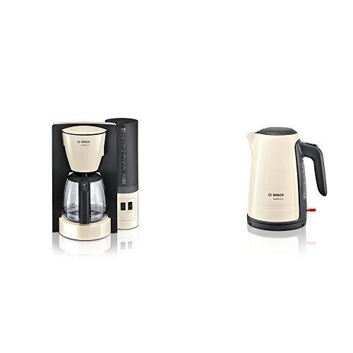 Bosch TKA6A047 ComfortLine Filterkaffeemaschine (1200 Watt, Glas-Kanne, automatische Abschaltung) Creme/black Grey & TWK6A017 ComfortLine Wasserkocher, Creme/Black Grey