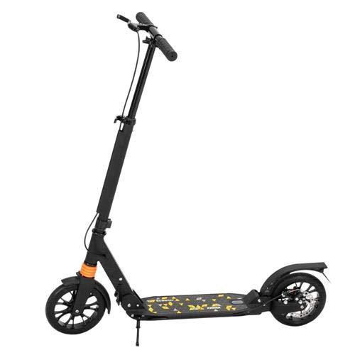 Scooter para adultos y adolescentes, 3 alturas, ajustable, plegable, doble amortiguador, color negro