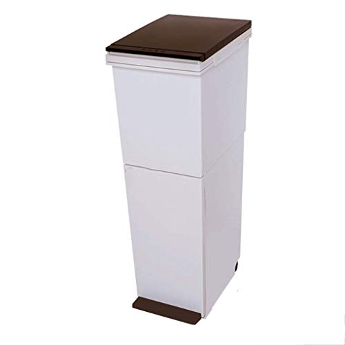 Wddwarmhome dubbellaagse classificatie, grote vuilnisbak, kunststof, grote capaciteit, 2-laags design, met deksel, onderlaag pedaal