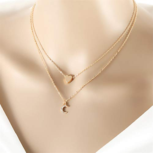 Winwinfly Gold Plated Heart Moon Pendant Multi-Layer Necklaces for Women Boho Beach Jewelry
