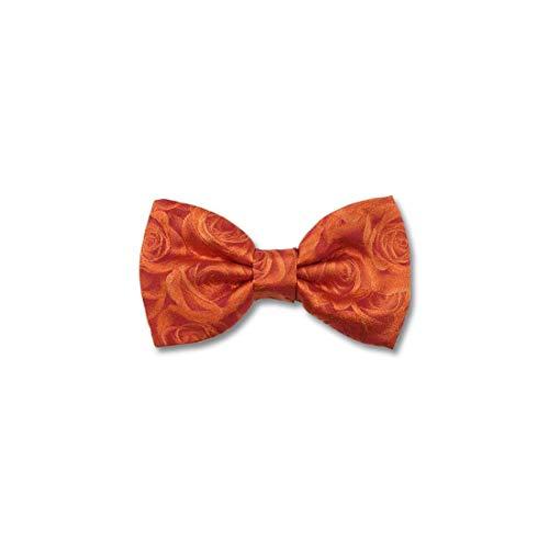Robert Charles. Noeud papillon noué. Roses, Soie. Orange, Motifs. Fabriqué en Italie.