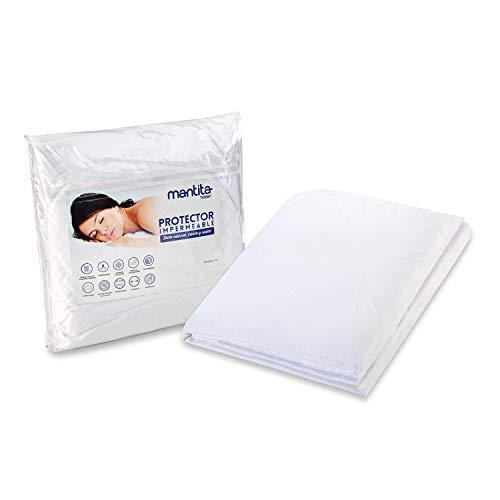 Hogar Protector de colchón Impermeable y Transpirable | Algodón y Poliuretano | Tacto Suave y Natural (90_x_190_cm, Impermeable Poliuretano sobre algodón)