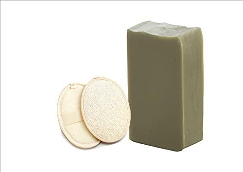 Savon naturel au lait d'ânesse Bio-Argile verte-Bergamote.Fabrication artisanale Française.Corps et visage. imperfections / acnéique / sensible / sèche / déshydrater + 2 éponges en loofah naturel