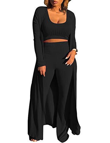 HAHAEMMA Damen Anzug Set Hose und Top sexy 3-teilige Outfits für Frauen Plain Crop Top Weites Bein Lange Hosen Langarm Cardigan Sweater Casual Streatwear